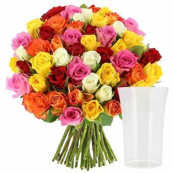 - Roses Multicolores + Vase OFFERT