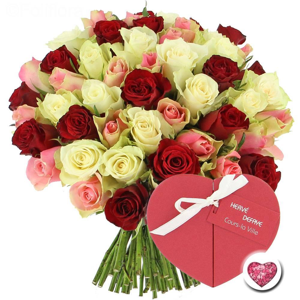 Livraison roses tendresse coeur de chocolats 50 roses for Livraison rose