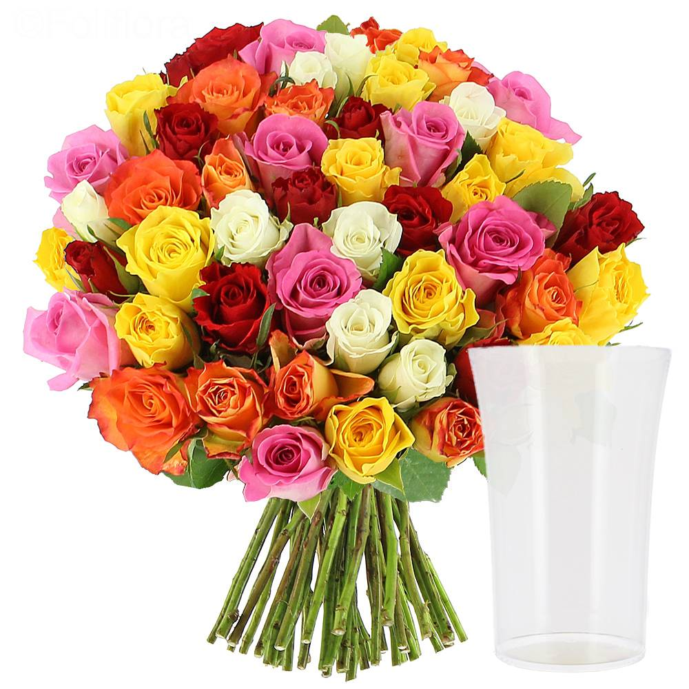 livraison roses multicolores vase offert 30 roses bouquet de roses foliflora. Black Bedroom Furniture Sets. Home Design Ideas