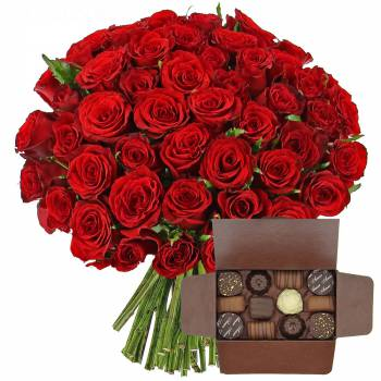 Bouquet de roses - Roses rouges + Ballotin de chocolats