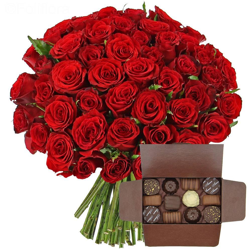 livraison roses rouges ballotin de chocolats 40 roses gourmandise foliflora. Black Bedroom Furniture Sets. Home Design Ideas